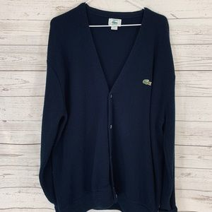 LACOSTE Men's Large Cardigan Sweater Navy